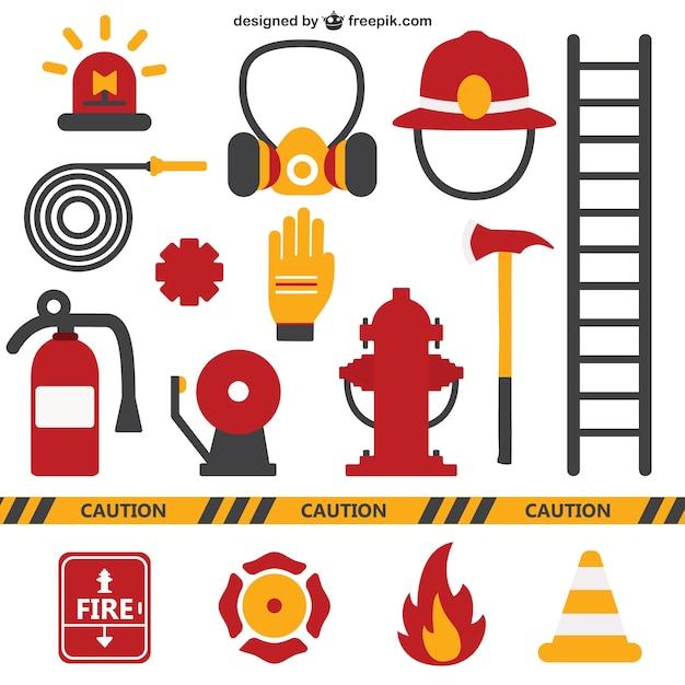 Feuerwehr ausrüstung Kostenlosen Vektoren