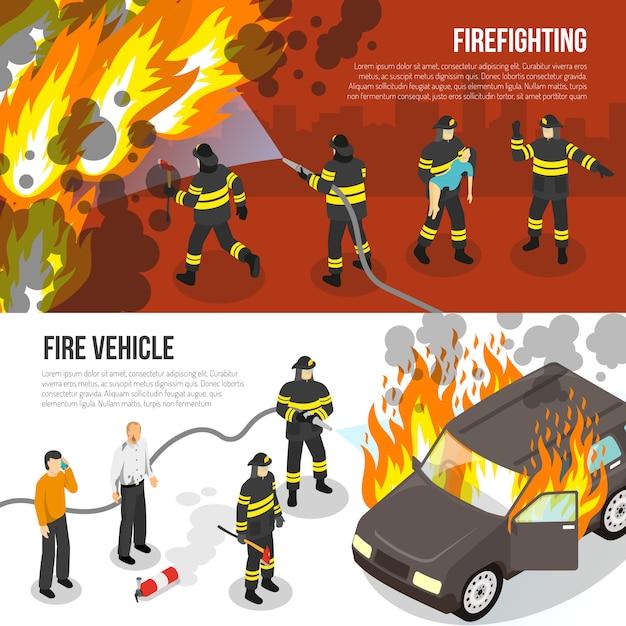 Feuerwehr horizontale banner Kostenlosen Vektoren