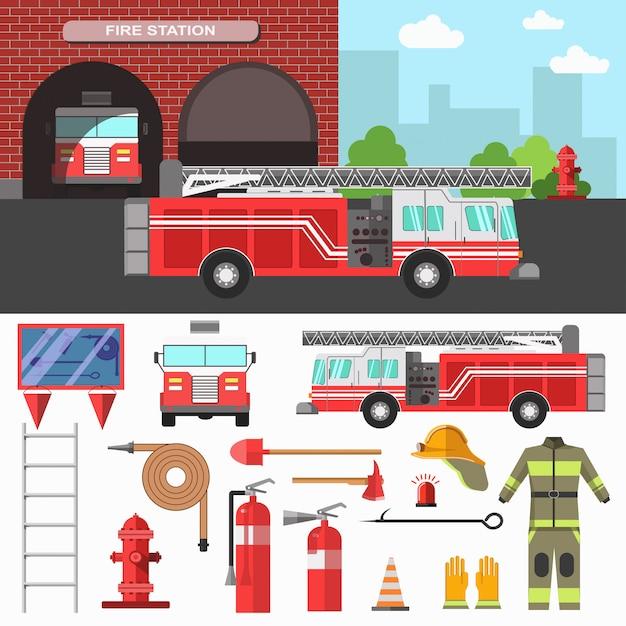 Feuerwehrabteilung und ausrüstungsset. Premium Vektoren