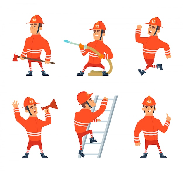 Feuerwehrmann bei der arbeit. verschiedene action-posen Premium Vektoren