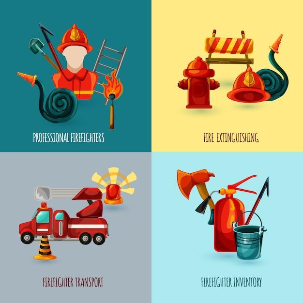 Feuerwehrmann design set Kostenlosen Vektoren