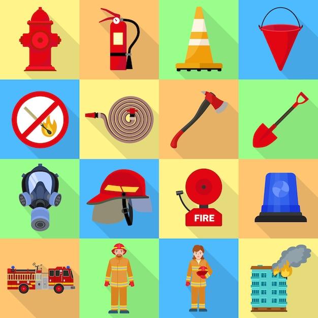 Feuerwehrmann-icon-set. Premium Vektoren