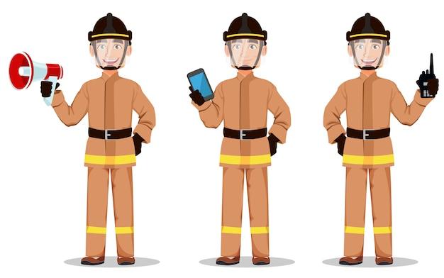 Feuerwehrmann in berufsuniform Premium Vektoren
