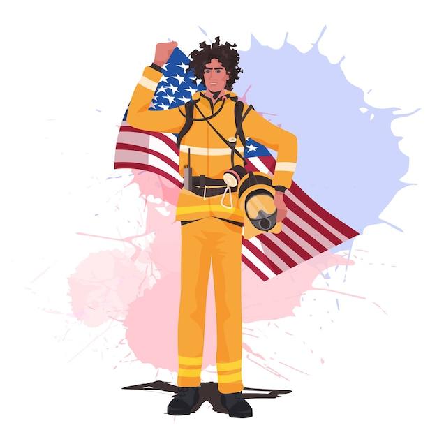 Feuerwehrmann in uniform mit usa-flagge happy labour day Premium Vektoren
