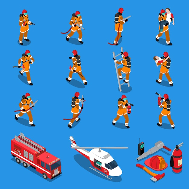 Feuerwehrmann isometric set Kostenlosen Vektoren