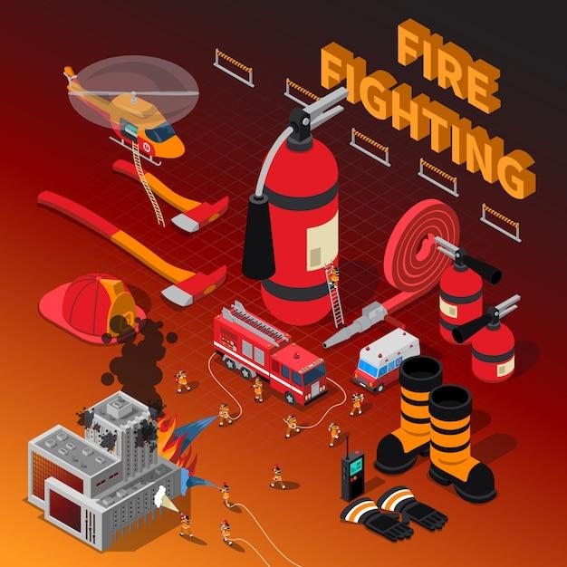 Feuerwehrmann isometrische zusammensetzung Kostenlosen Vektoren