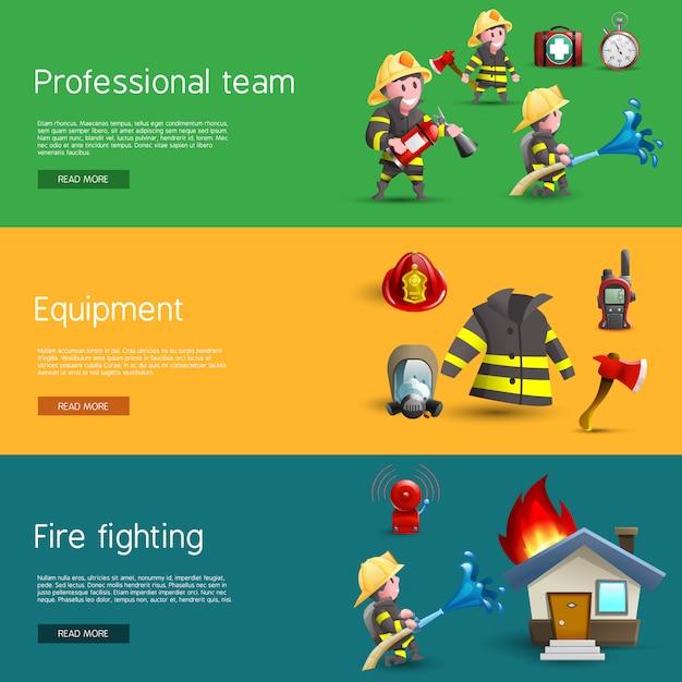 Feuerwehrmann-team-ausrüstungs-horizontale fahnen eingestellt Kostenlosen Vektoren