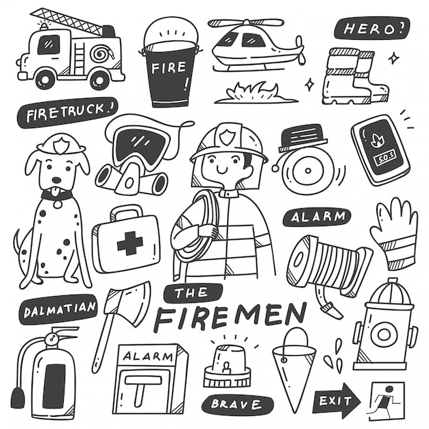 Feuerwehrmann und ausrüstungs-gekritzel Premium Vektoren