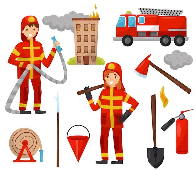 Feuerwehrmann- und feuerlöschgeräte-set, lkw, feuerwehrschlauch, hydrant, feuerlöscher, axt, schrott, eimer, schlauch illustrationen auf weißem hintergrund Premium Vektoren