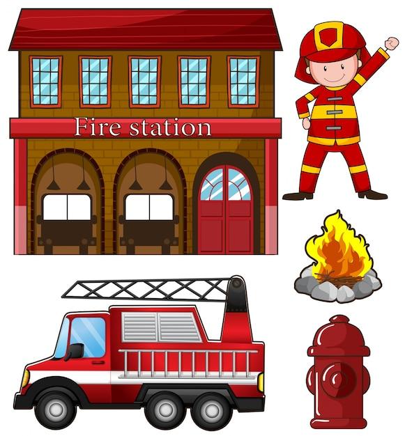 Feuerwehrmann und feuerwehr illustration Kostenlosen Vektoren