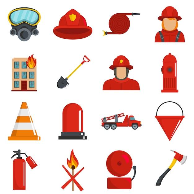 Feuerwehrmannikonen stellten vektor lokalisiert ein Premium Vektoren
