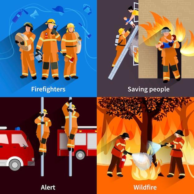 Feuerwehrmannleute 2x2 zusammensetzungen der feuerwehrmannmannschaft, die lauffeuer und das retten von leuten alarmiert Kostenlosen Vektoren