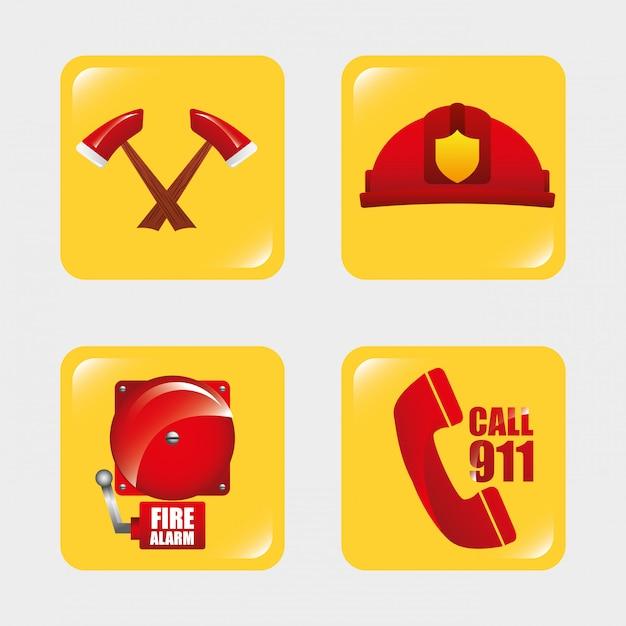 Feuerwehrmannswerkzeuge Premium Vektoren