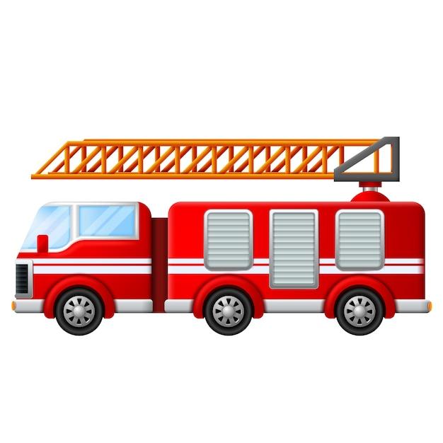 Feuerwehrwagen mit leiter Premium Vektoren