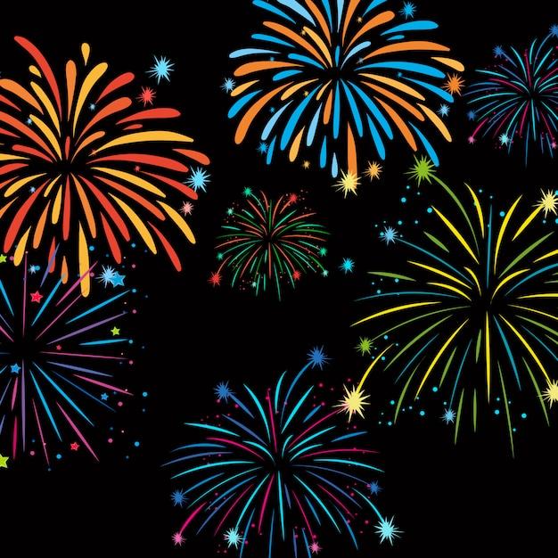 Feuerwerk auf hintergrundschablone Kostenlosen Vektoren