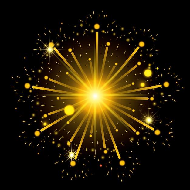 Feuerwerk, das schwarzen hintergrund birst Premium Vektoren