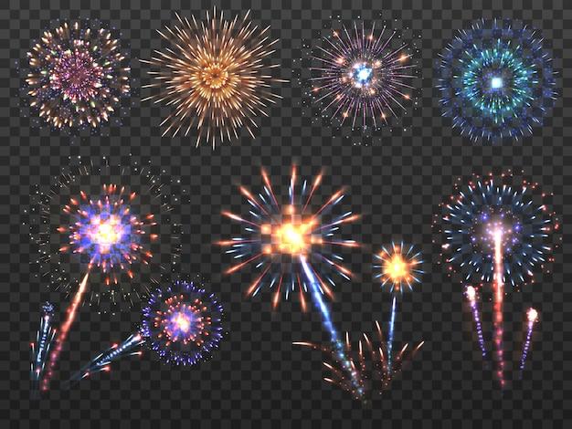 Feuerwerk. feiertagsfeuerwerksexplosion in der nacht, kracherfunken. guten rutsch ins neue jahr-vektor-dekorationssatz lokalisiert Premium Vektoren