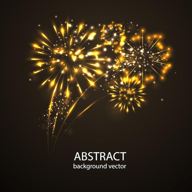 Feuerwerke auf dämmerungshintergrundvektor. feiertagsfeier des neuen jahres des feuerwerks. Premium Vektoren