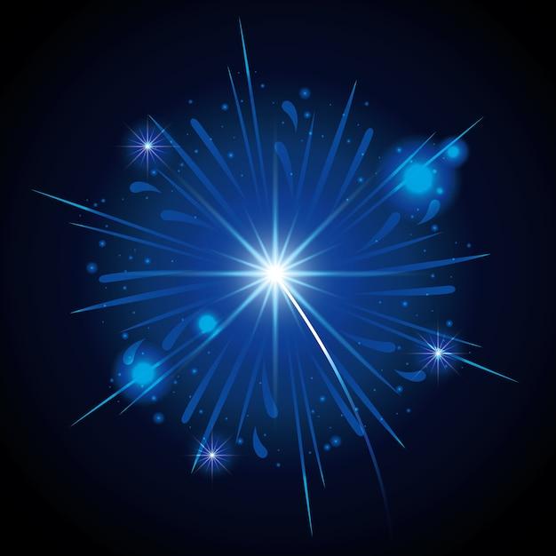 Feuerwerke, die in form des blauen sternes auf schwarzem hintergrund bersten Premium Vektoren