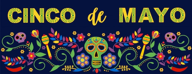 Fiesta banner und poster mit flaggen, blumen, dekorationen und maracas text feliz cinco de mayo. Premium Vektoren