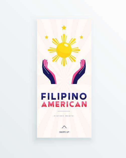 Filipino american history month social-media-story-vorlage mit von sonne und sternen beleuchteten händen als symbol für die beiträge philippinischer amerikaner zur weltkultur ... Premium Vektoren