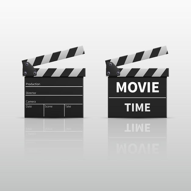 Film clapperboard oder filmscharnierventil lokalisiert auf weißer vektorillustration. clapperboard für video-cli Premium Vektoren