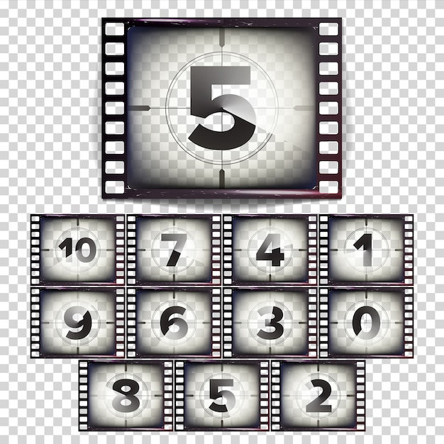 Film countdown nummern 10 - 0 Premium Vektoren