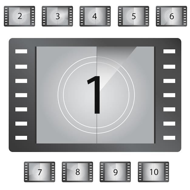 Film-countdown-zahlenvektor Premium Vektoren