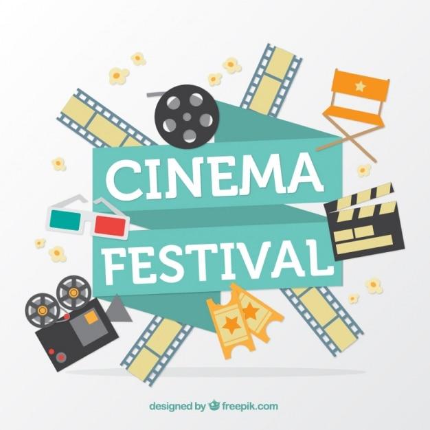 Film festival hintergrund mit elementen Kostenlosen Vektoren