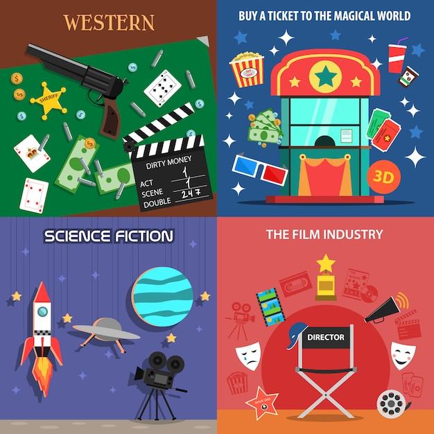 Film flache icons set Kostenlosen Vektoren
