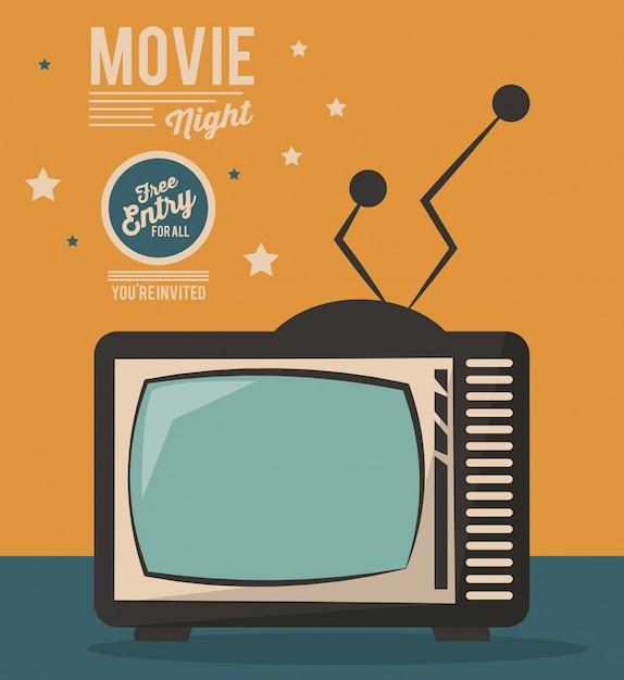 Film Nacht Karte Fernsehen Gerät Jahrgang | Download der Premium Vektor