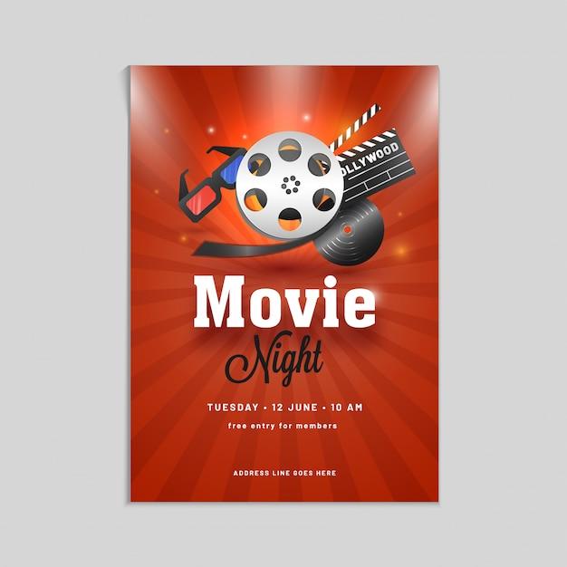 Film Nacht Poster, Banner oder Flyer Design mit Showreel, 3D-Brille ...