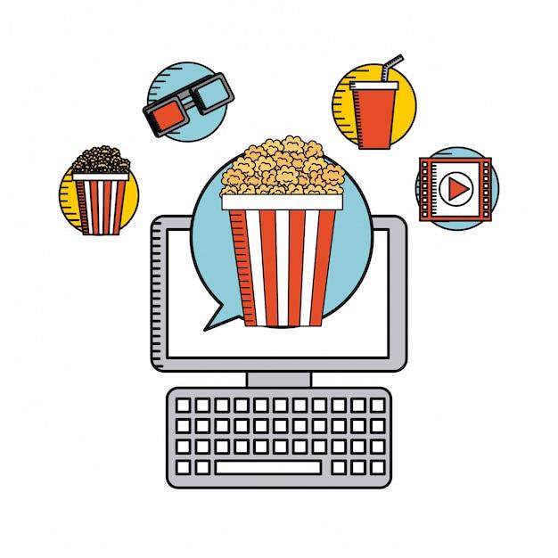Film online flache linie symbole Premium Vektoren