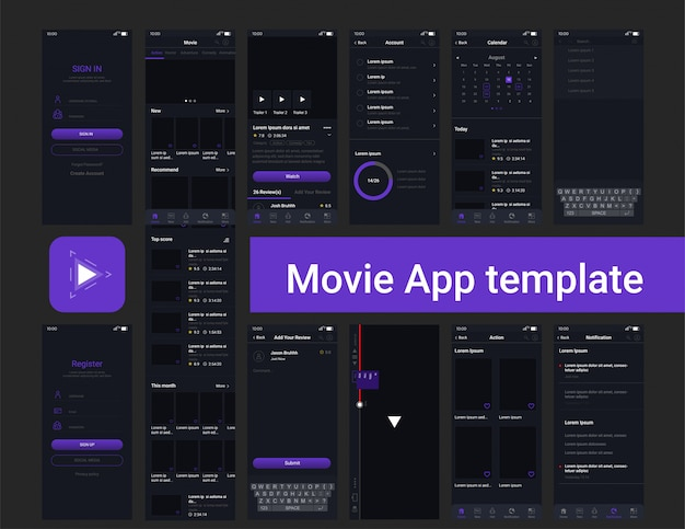 Film-streaming-app-ui-vorlage Premium Vektoren