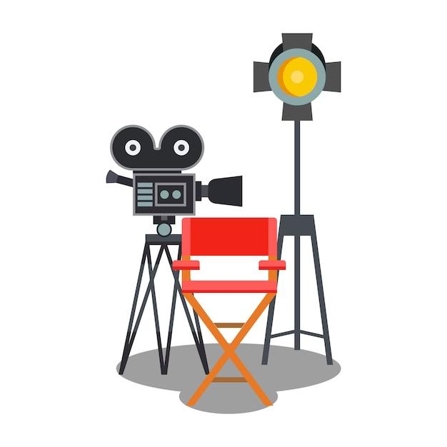 Film-studio-ausrüstungs-flache farbillustration Premium Vektoren