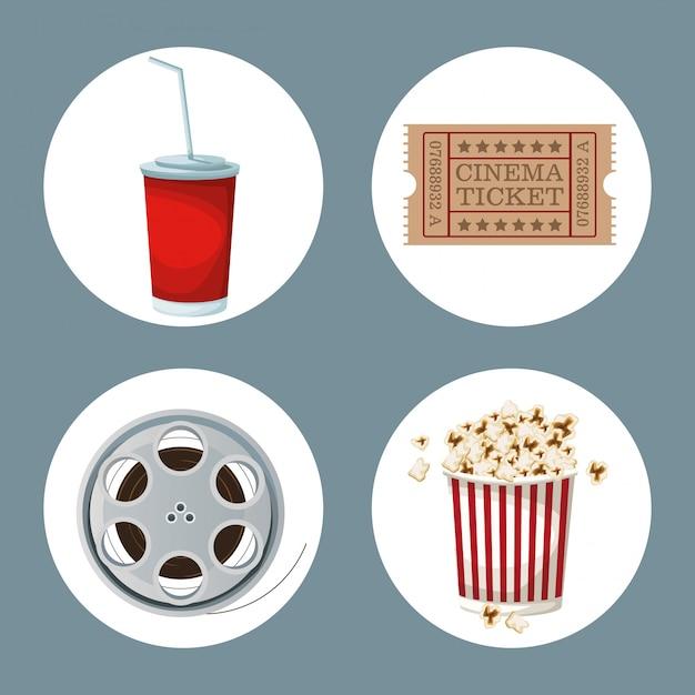 Filmelemente in rahmen getränke ticket film filmrolle und popcorn Premium Vektoren