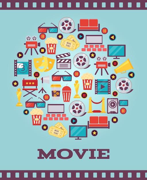 Filmgrafik-symbole auf hellblauem hintergrund. ein einfaches i love movie concept-grafikdesign. Kostenlosen Vektoren