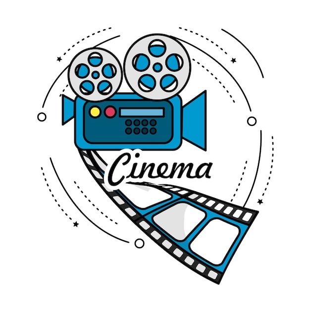 Filmkamera mit rollenszene und filmstreifen Premium Vektoren