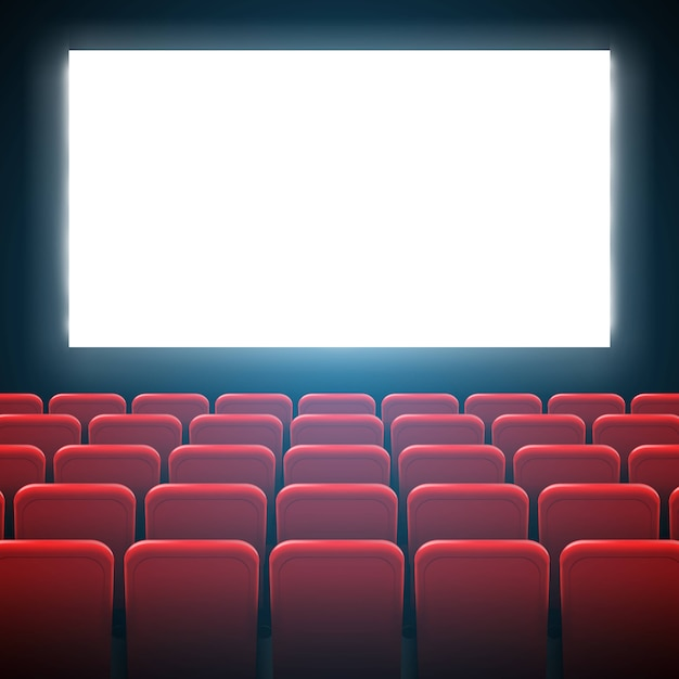 Filmkino-bildschirmrahmen und theaterinnenraum. Premium Vektoren