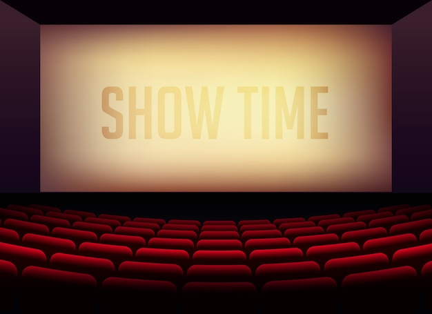 Filmkino oder theatersaal für filmpremieren poster design mit stühlen im zimmer Kostenlosen Vektoren