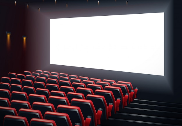 Filmkino-premiere-plakatdesign mit weißem bildschirm. Premium Vektoren
