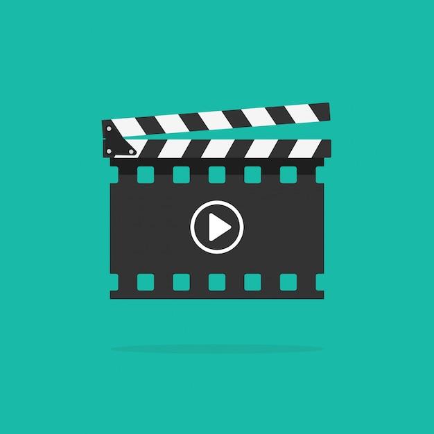 Filmklappe mit filmstreifen isoliert Premium Vektoren