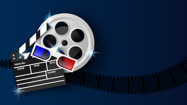 Filmklappe und filmrolle auf blau Premium Vektoren