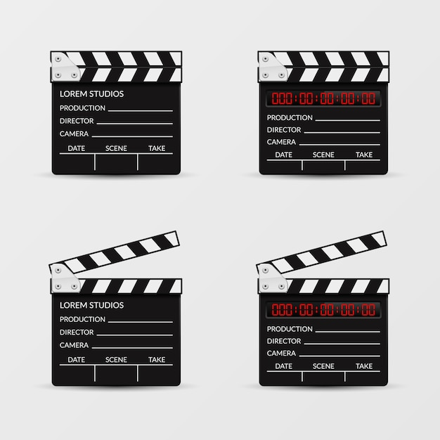 Filmklappe vektorsatz. clapperboard film, video schindel, clapperboard, film kinematographie illustration Kostenlosen Vektoren