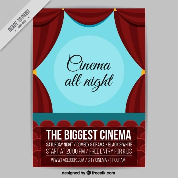 Filmplakat mit roten Vorhängen | Download der kostenlosen Vektor