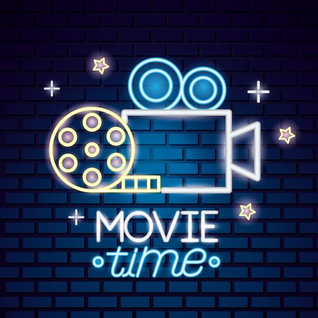 Filmzeit leuchtreklame zeichen Kostenlosen Vektoren