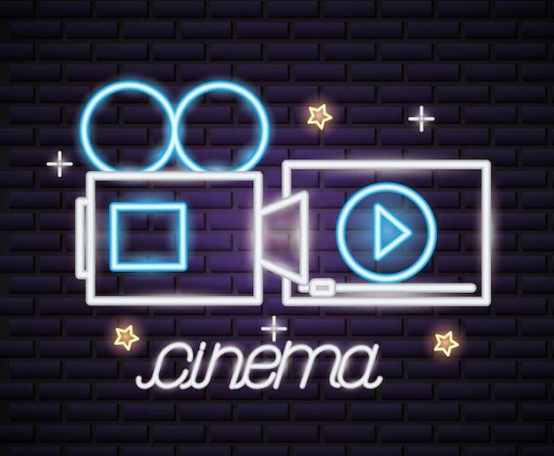 Filmzeit leuchtreklame Kostenlosen Vektoren