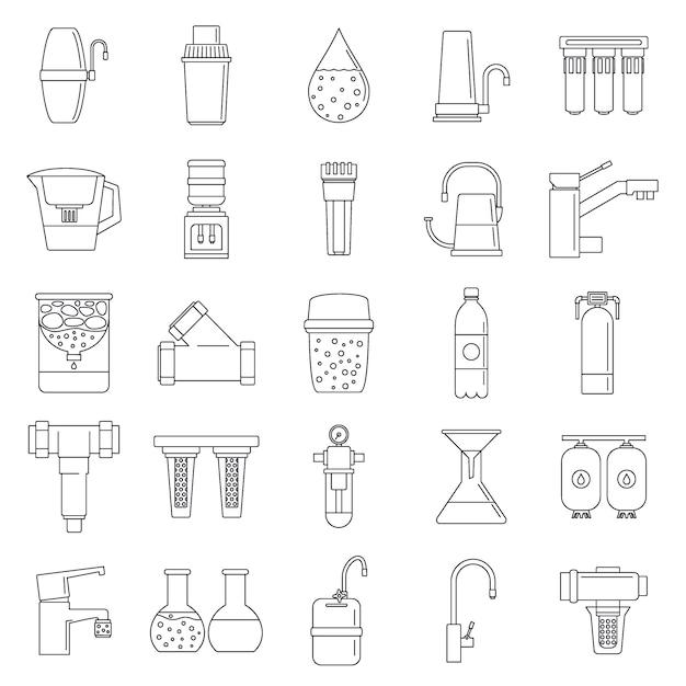 Filterwassersystem-icon-set Premium Vektoren