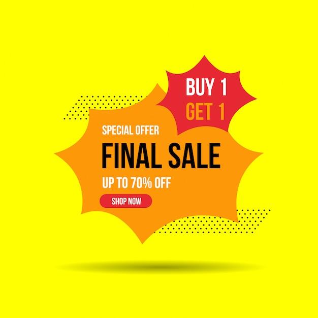 Final sale banner, bis zu 50% rabatt. vektor-illustration Premium Vektoren