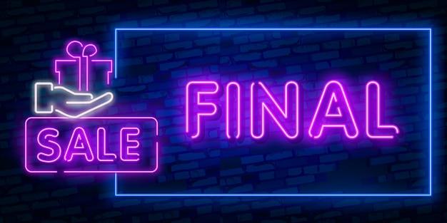 Final sale konzept banner im modischen neon-stil Premium Vektoren